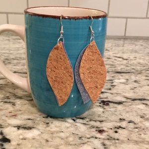 Cork and sparkle faux leather earrings